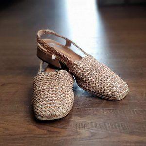 SESTO MEUCCI tan Leather Woven Slip On Loafers